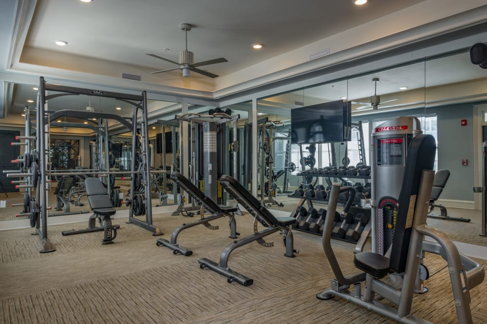 Modern fitness center at BluWater Apartments in Jacksonville Beach, Florida