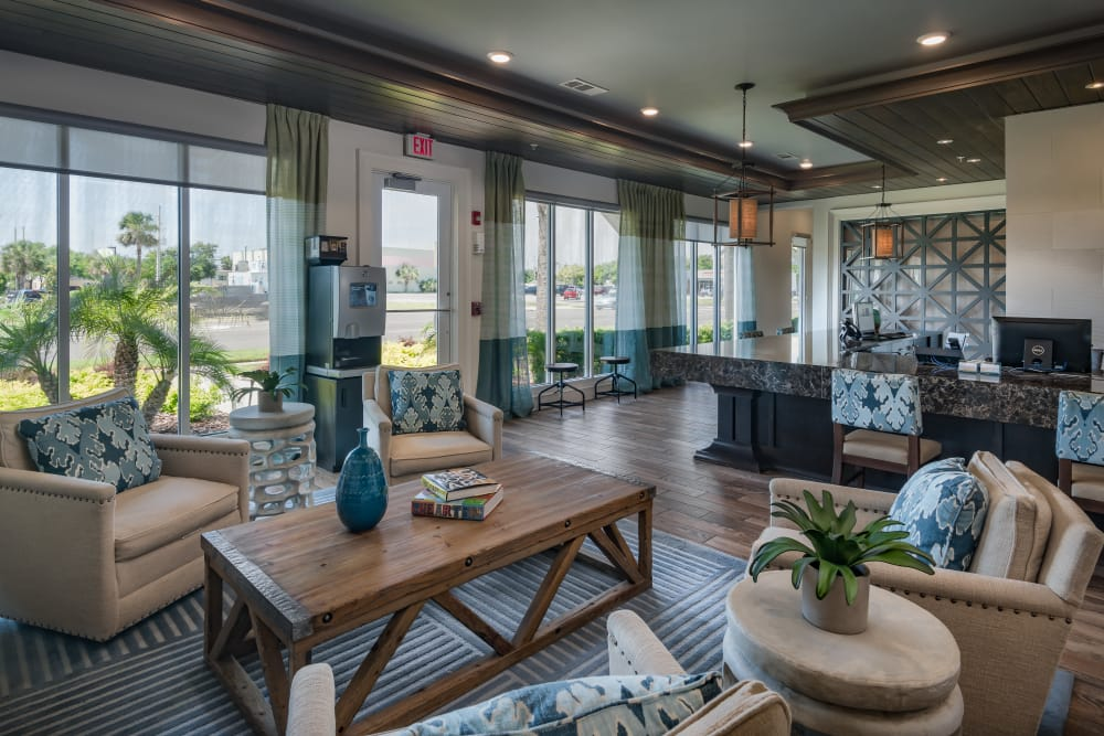 Spacious clubhouse at BluWater Apartments in Jacksonville Beach, Florida