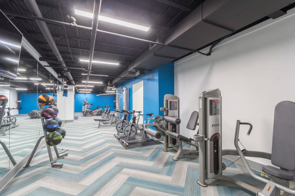 Fitness center at The Square at Mason Mill Apartments in Decatur, Georgia