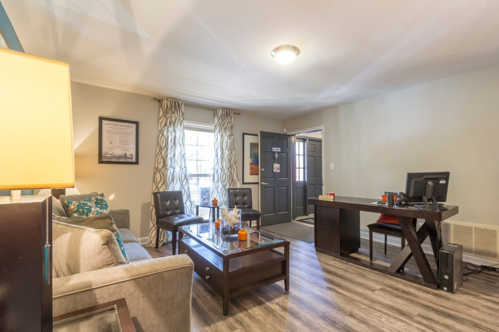 Spacious living room at The Square at Mason Mill Apartments in Decatur, Georgia