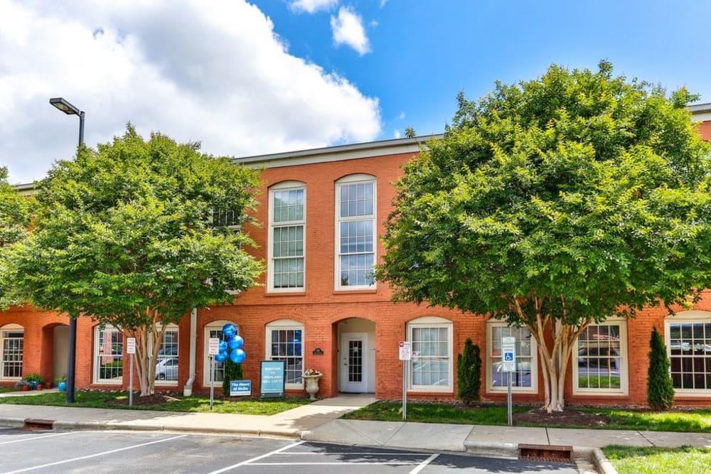 Front entrance at Highland Mill Lofts in Charlotte, North Carolina