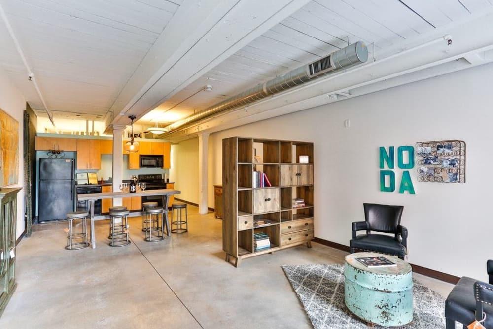 Modern living room at Highland Mill Lofts in Charlotte, North Carolina