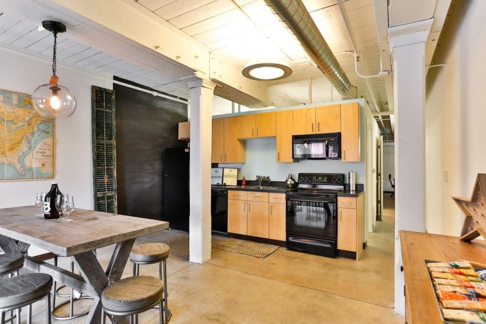 Kitchen at Highland Mill Lofts in Charlotte, North Carolina