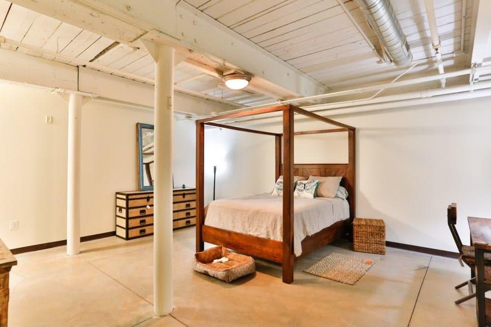 Model bedroom at Highland Mill Lofts in Charlotte, North Carolina