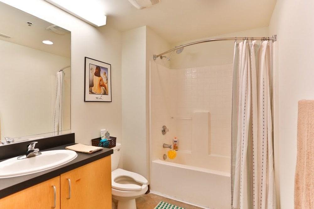 Bathroom at Highland Mill Lofts in Charlotte, North Carolina