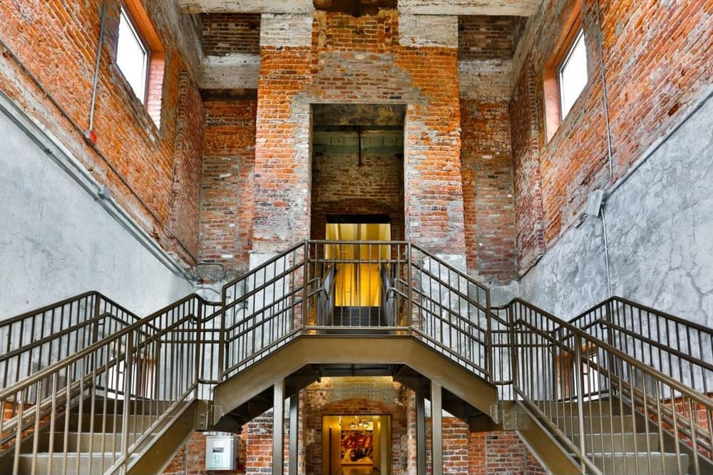 Stairwell at Highland Mill Lofts in Charlotte, North Carolina