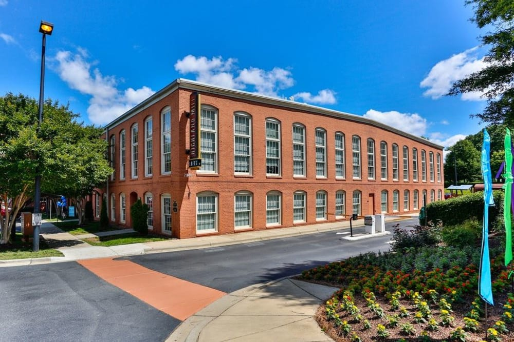 Exterior of our apartments at Highland Mill Lofts in Charlotte, North Carolina