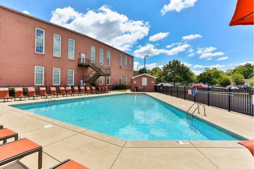 Beautiful swimming pool at Highland Mill Lofts in Charlotte, North Carolina