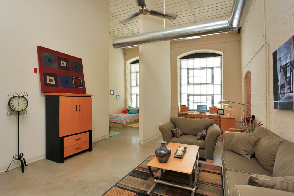 Spacious living room at Lofts at Riverwalk in Columbus, Georgia