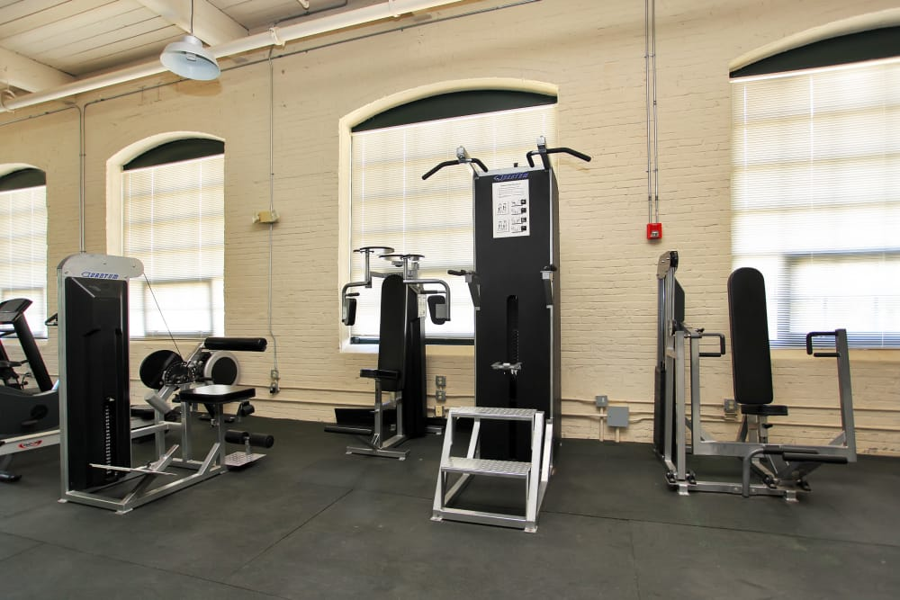 Modern fitness center at Lofts at Riverwalk in Columbus, Georgia