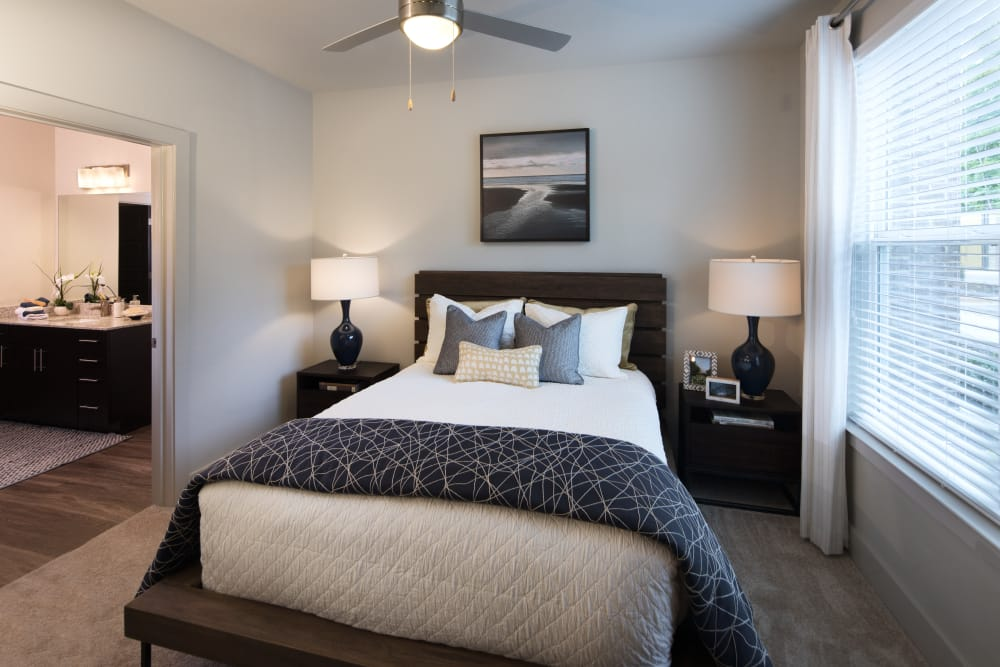 Model bedroom at Leigh House Apartment Homes in Raleigh, North Carolina