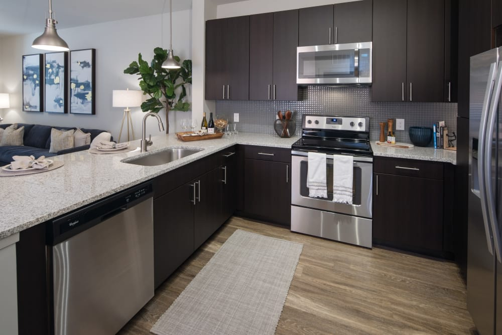 Fully equipped kitchen at Leigh House Apartment Homes in Raleigh, North Carolina