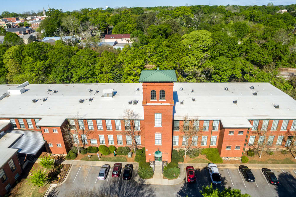 View from the sky of our apartments at Newnan Lofts Apartment Homes in Newnan, Georgia
