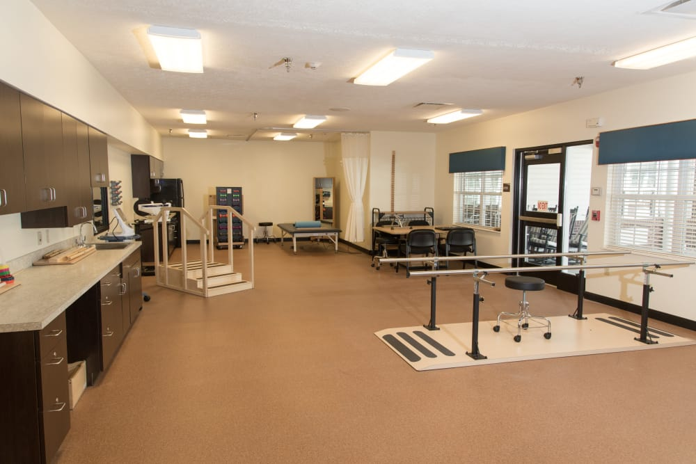 Equipped rehabilitation room at Forest Springs Health Campus in Louisville, Kentucky