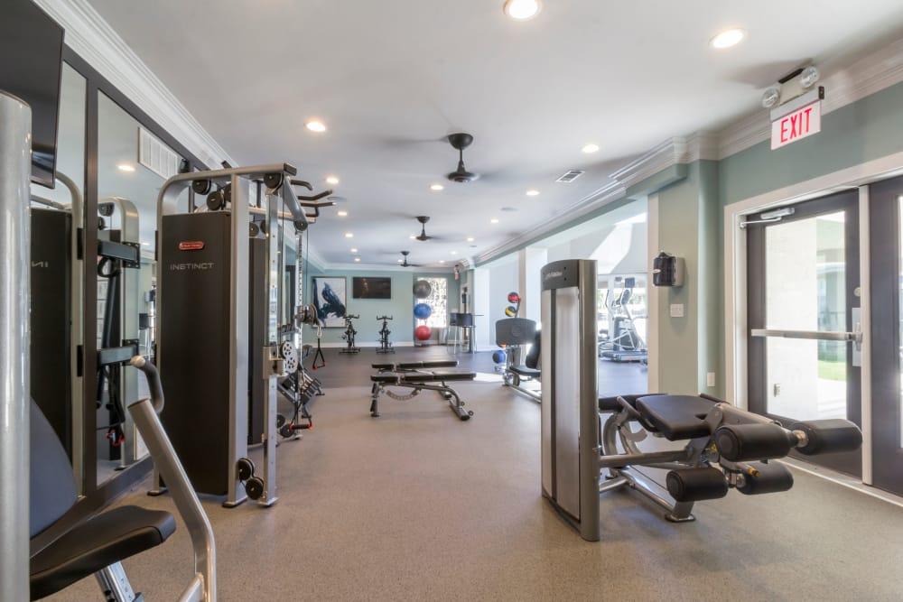 Modern fitness center at The Stratford Apartments in Atlanta, Georgia