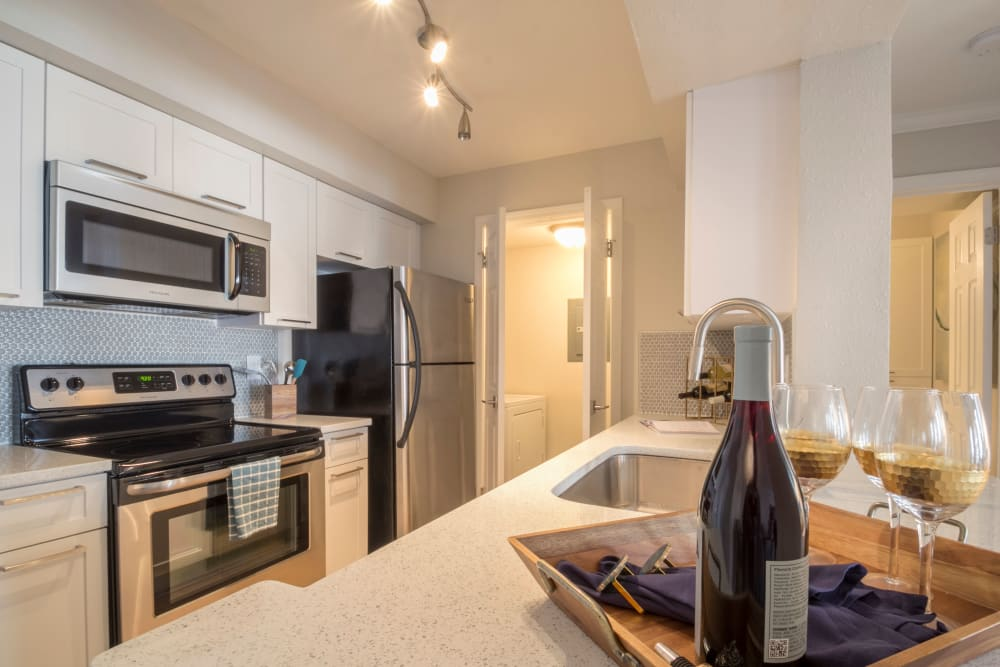 Modern kitchen at The Stratford Apartments in Atlanta, Georgia
