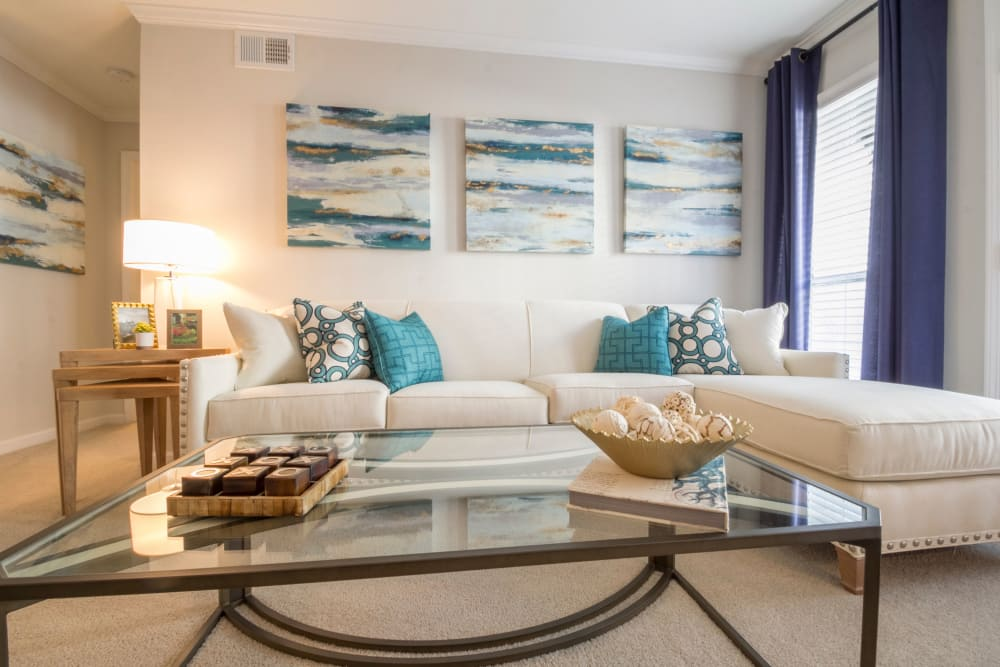 Lovely living room at The Stratford Apartments in Atlanta, Georgia