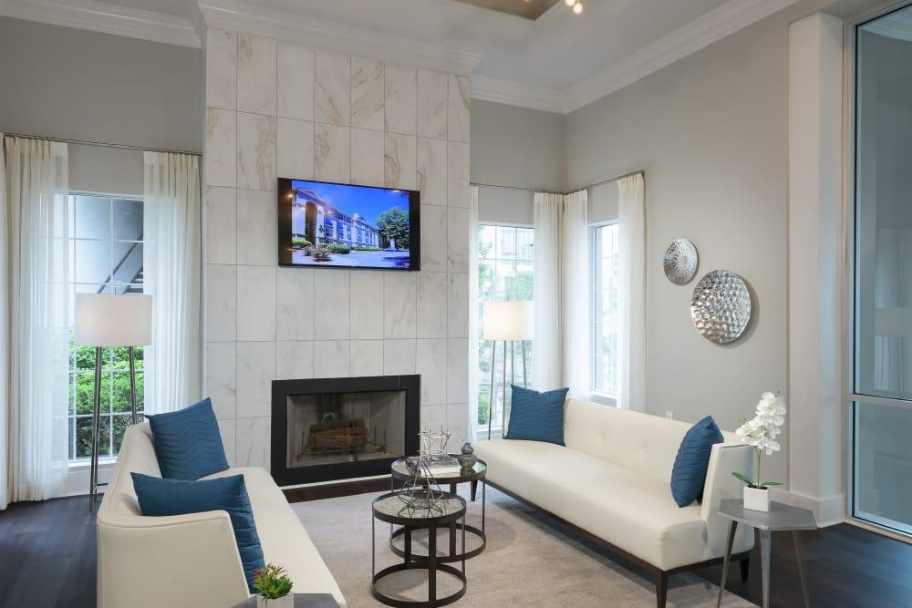 Modern living room at The Stratford Apartments in Atlanta, Georgia