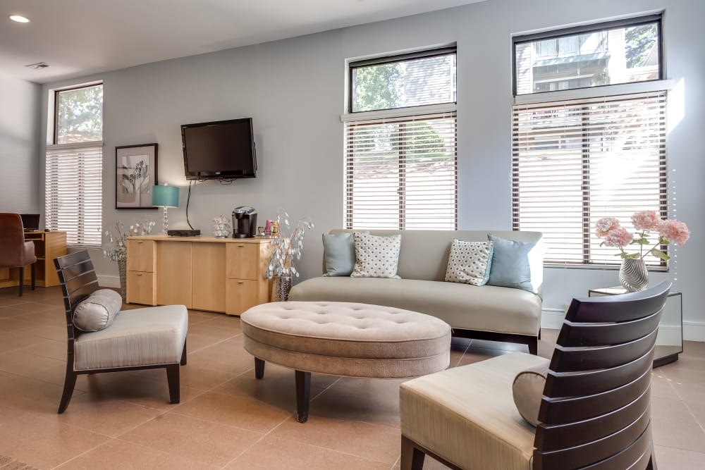 Spacious living room at Villages of Lake Boone Trail in Raleigh, North Carolina