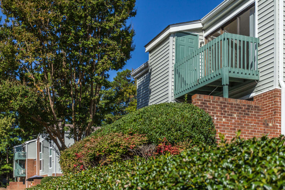 Exterior of our apartments at Villages of Lake Boone Trail in Raleigh, North Carolina