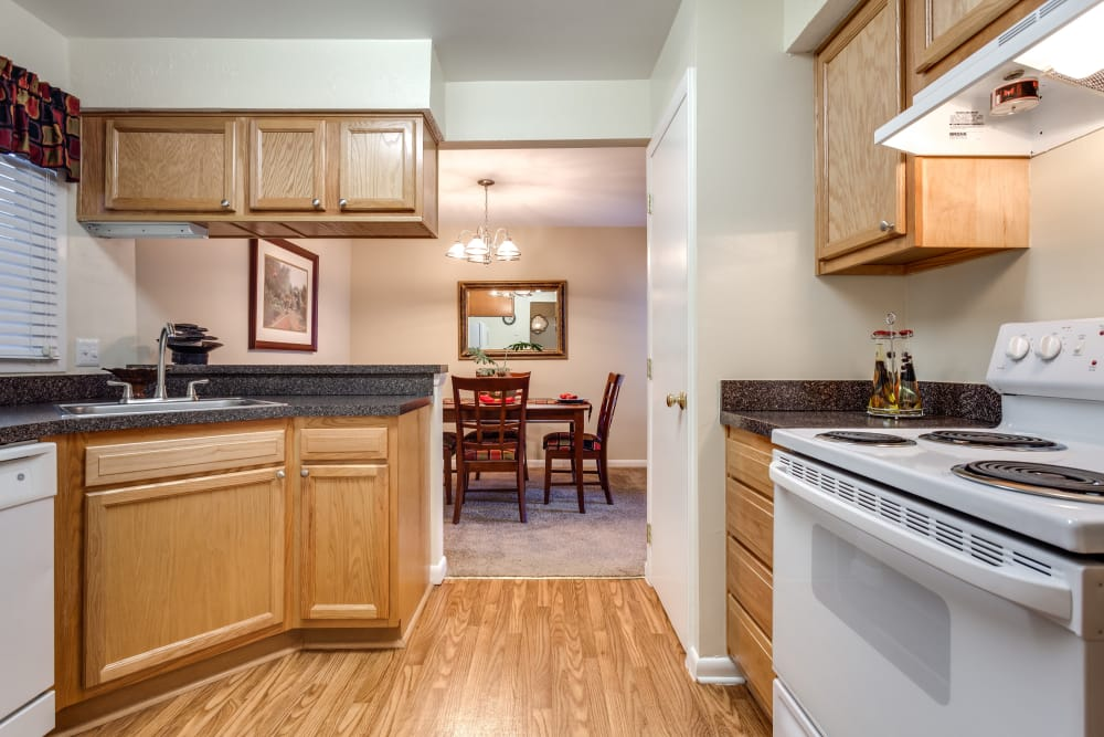 Modern kitchen at Villages of Lake Boone Trail in Raleigh, North Carolina