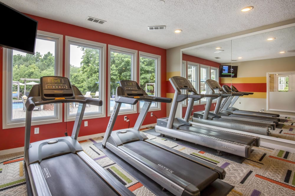 Well-equipped fitness center at Copper Mill Apartments in Richmond, Virginia