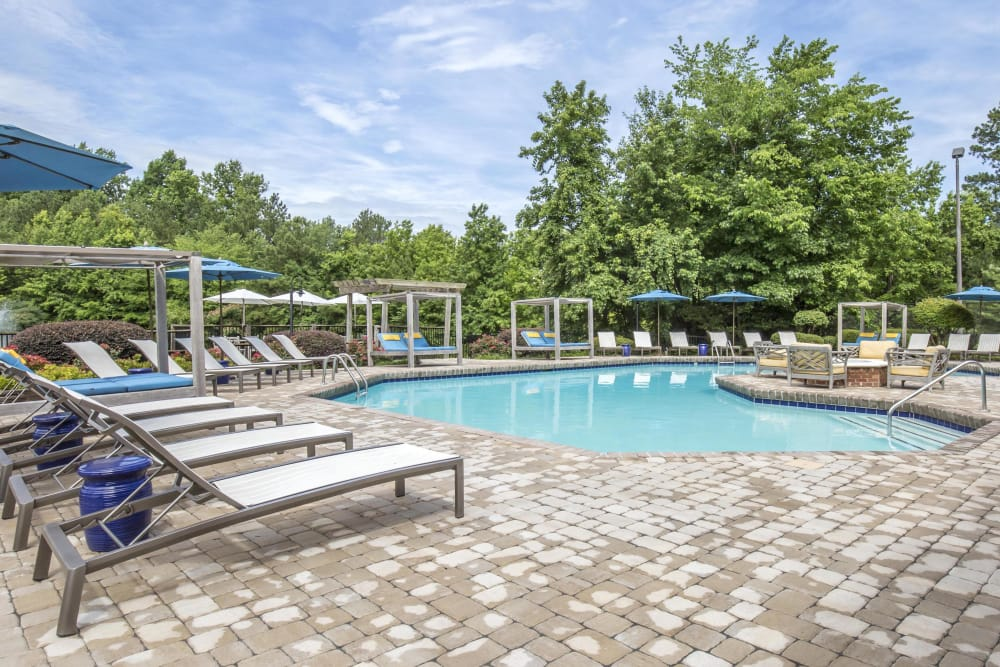 Great-for-entertaining pool with sundeck view at Copper Mill Apartments in Richmond, Virginia