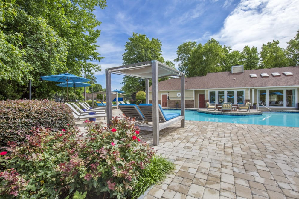 Sparkling pool on a sunny day at Copper Mill Apartments in Richmond, Virginia