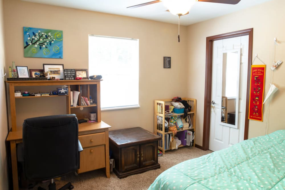 Bedroom with a computer desk at South Maple in Ames, Iowa