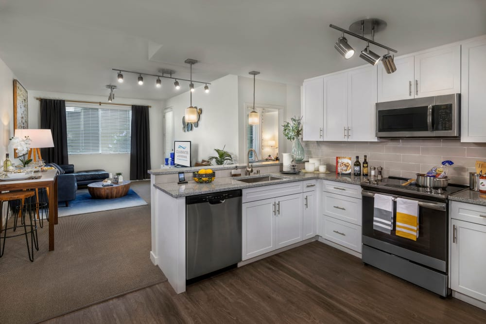 Beautiful kitchen with an open floor plan at Clearwater at Riverpark in Oxnard, California