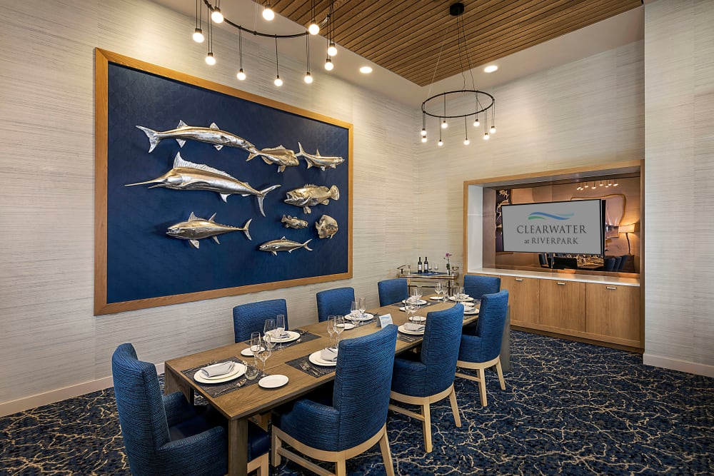 Private dinning at Clearwater at Riverpark in Oxnard, California