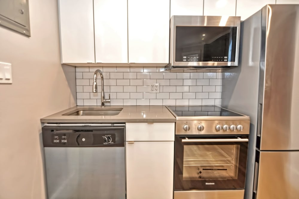 Modern kitchen at Boylston Crossing Apartment Homes in Boston, Massachusetts