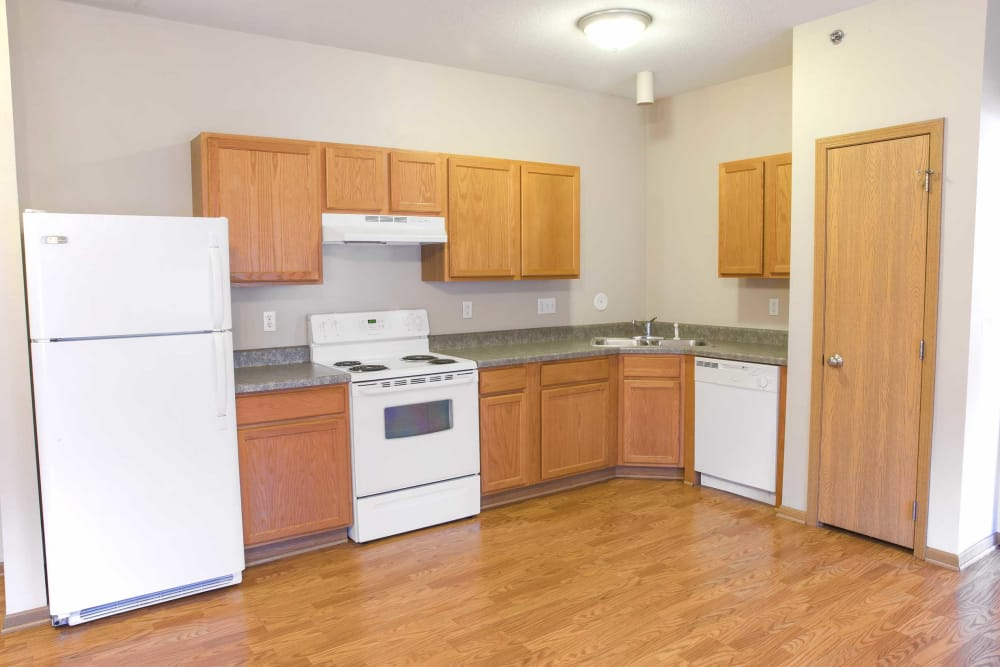 Open kitchen in an apartment at Crown Point Apartments in Ames, Iowa