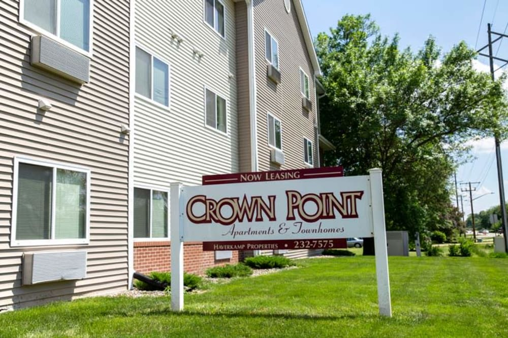 Branding and signage at Crown Point Apartments in Ames, Iowa