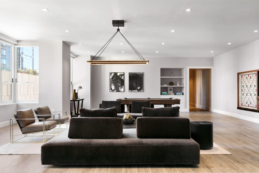 Open living room layout at Trump Bay Street in Jersey City, New Jersey