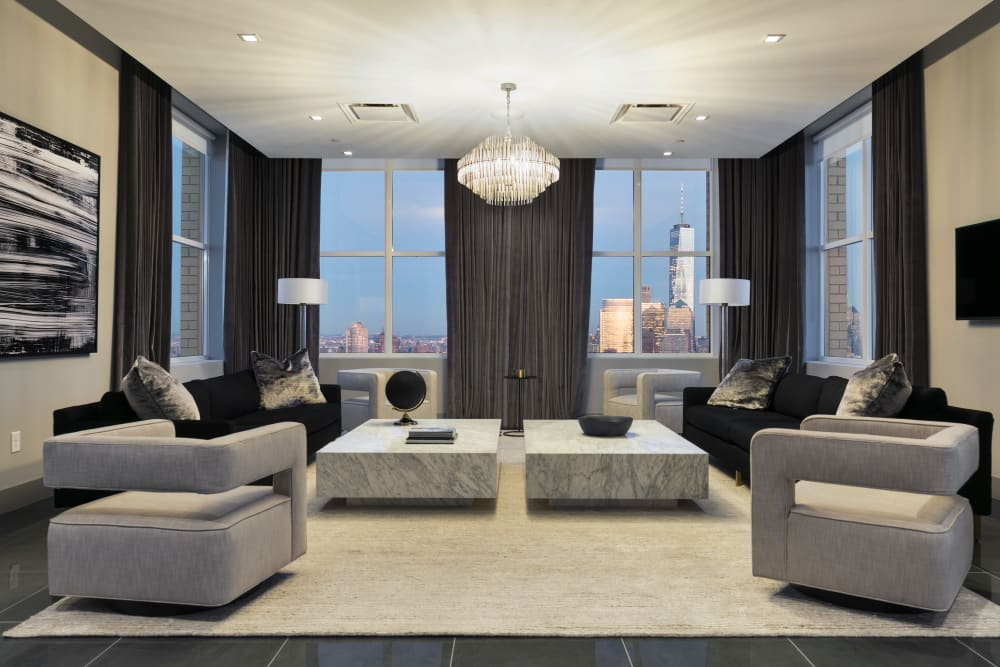 Luxury living area in Jersey City, New Jersey at Trump Bay Street