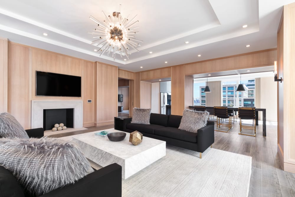 Large open living room at Trump Bay Street in Jersey City, New Jersey