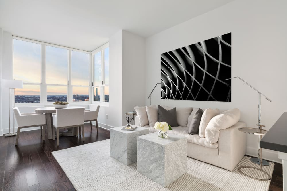 Living room with beautiful view from the window at Trump Bay Street in Jersey City, New Jersey