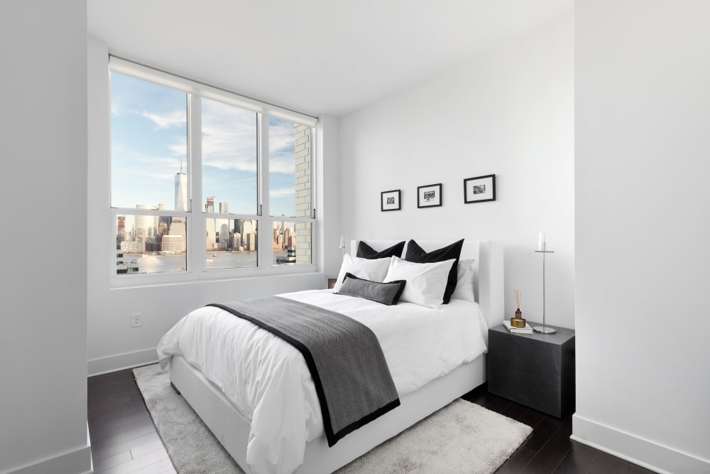 Model master bedroom at Trump Bay Street in Jersey City, New Jersey
