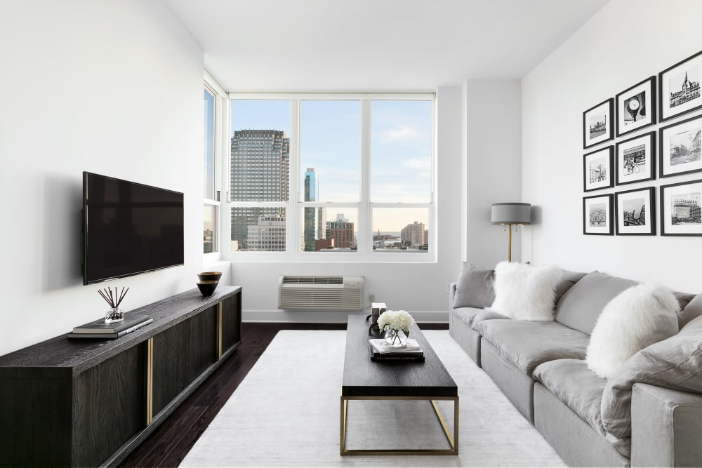 Stylish living room in apartment at Trump Bay Street in Jersey City, New Jersey