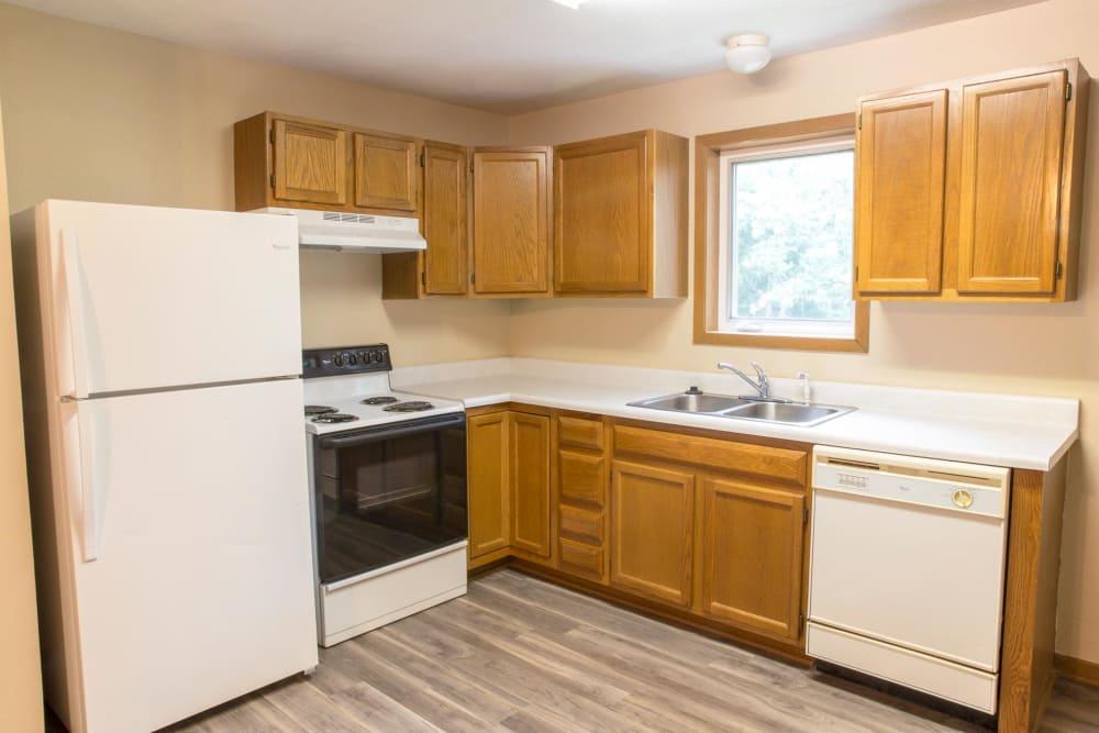 Open kitchen at Stone Court in Ames, Iowa