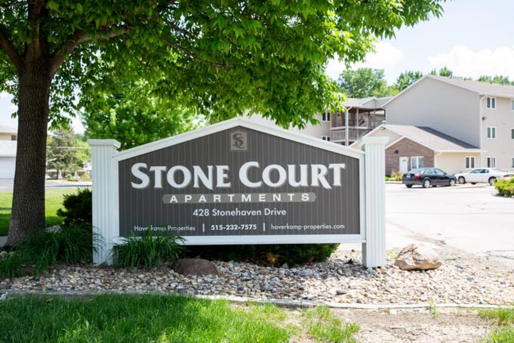 Branding and signage at Stone Court in Ames, Iowa