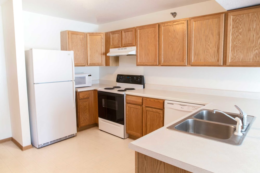 The kitchen has plenty of storage space at Walnut Place in Ames, Iowa