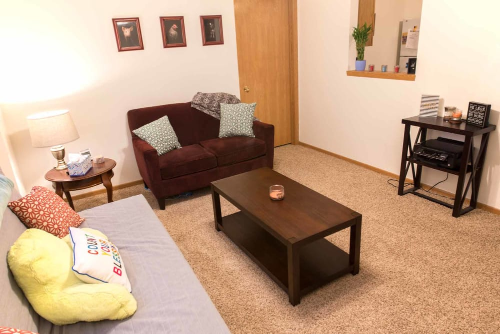 A living room with furniture at Walnut Place in Ames, Iowa