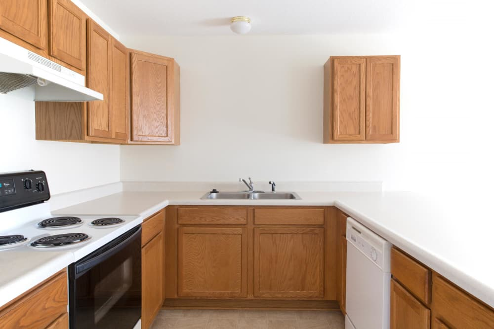 The kitchen has a lot of counter space at Walnut Place in Ames, Iowa