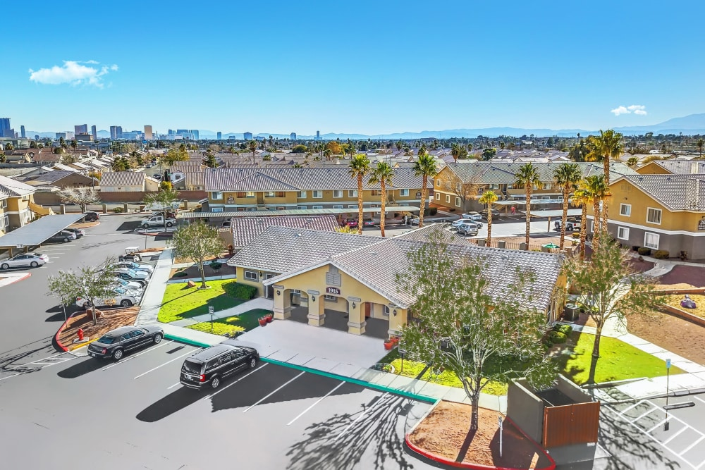 Aerial view of leasing office Portola Del Sol in Las Vegas, NV