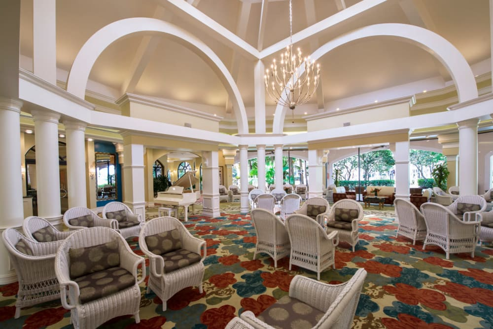 Grand ceiling & archway at Pacifica Senior Living Forest Trace in Lauderhill, Florida