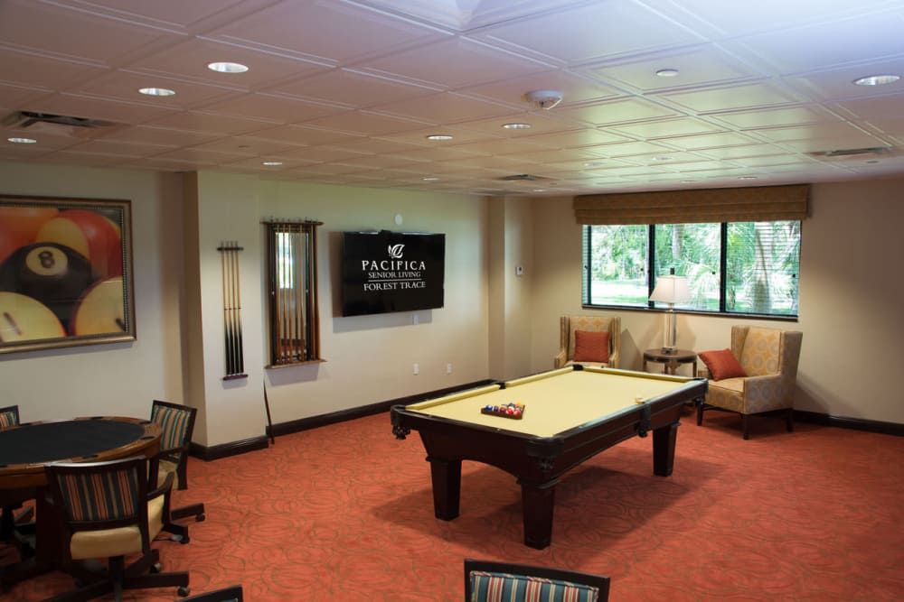 Game room at Pacifica Senior Living Forest Trace in Lauderhill, Florida