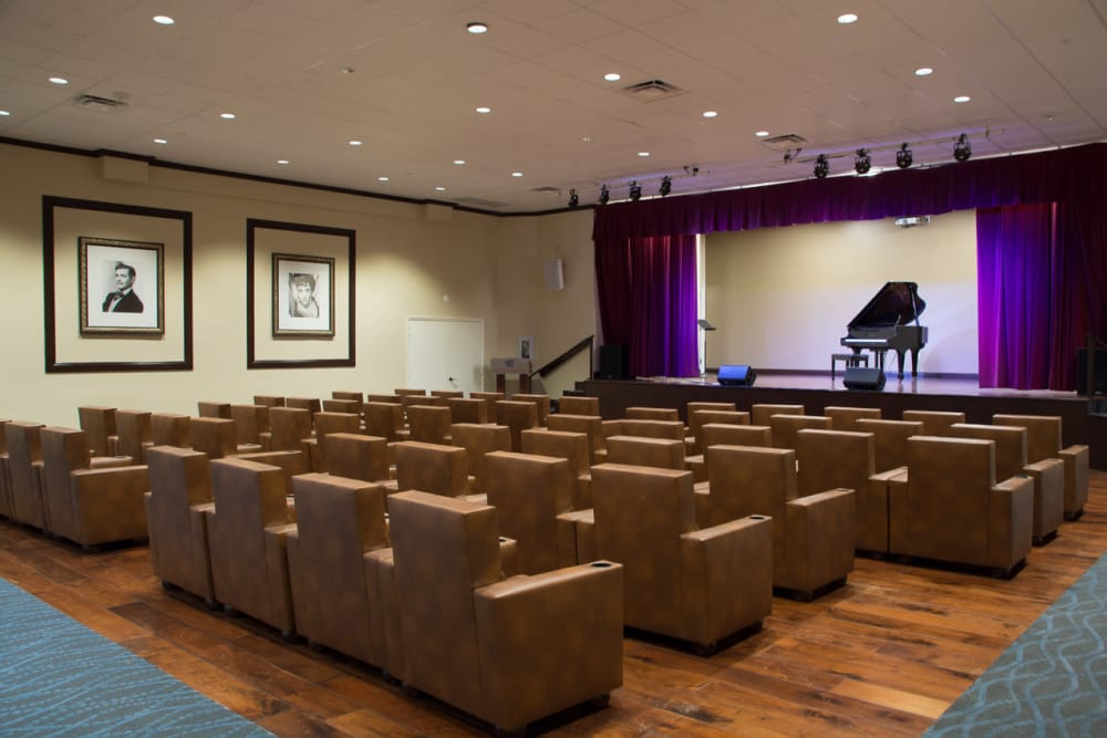 Movie theatre at senior living facility in Lauderhill, Florida