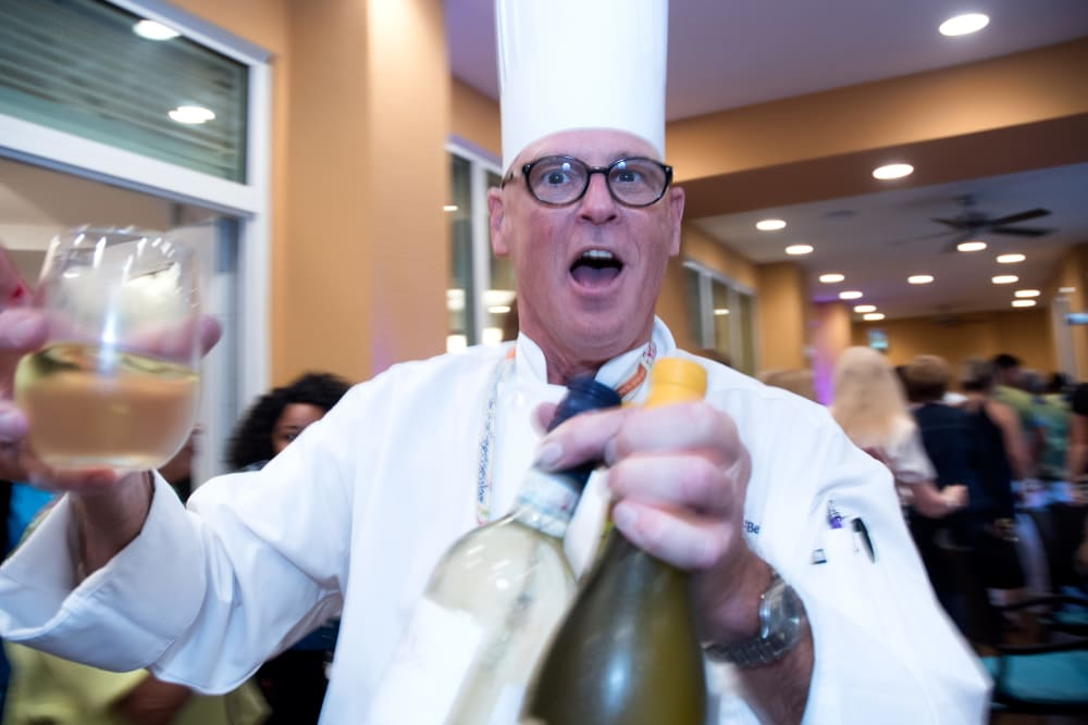 The Chef making a cheers at Symphony at Delray Beach in Delray Beach, Florida.